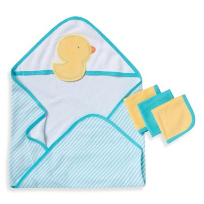 Gerber® 3-Pack Terry Hooded Towel and Washcloth Set in Aqua/Yellow Duck
