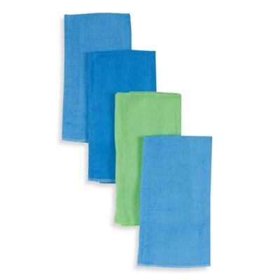 4-Pack Cotton Prefolded Diapers in Blue/Green