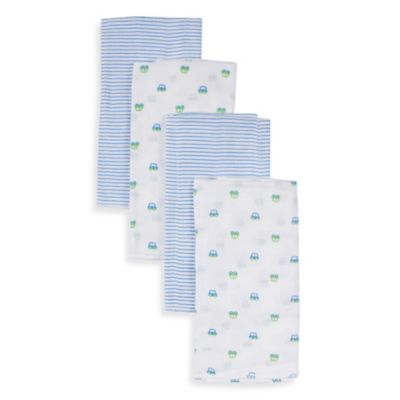 Gerber® 4-Pack Cotton Prefolded Diapers in Blue and White Stripe/Blue and Green Car