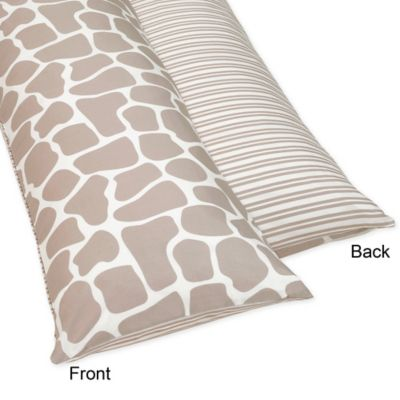 Sweet Jojo Designs Giraffe Maternity Body Pillow Case in Taupe/White
