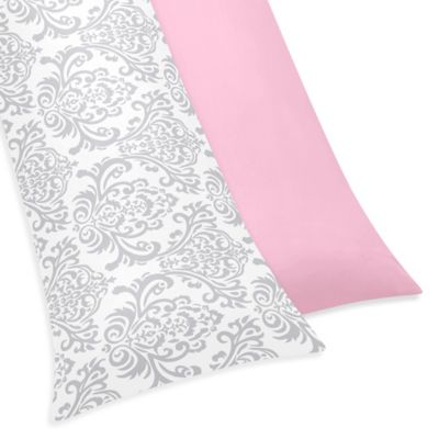 Sweet Jojo Designs Elizabeth Maternity Body Pillow Case in Pink/Grey