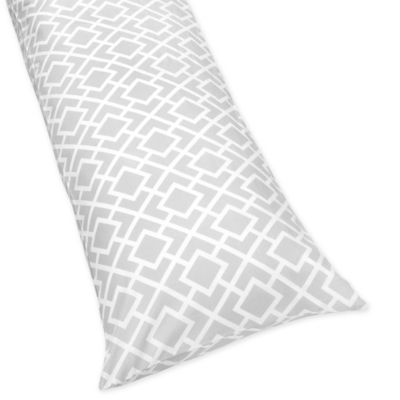 Sweet Jojo Designs Diamond Maternity Body Pillow Case in Grey/White