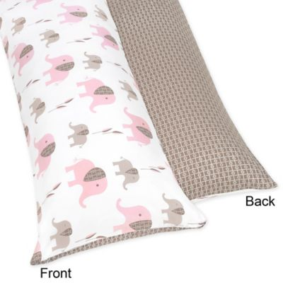 Sweet Jojo Designs Elephant Maternity Body Pillow Case in Pink/Taupe