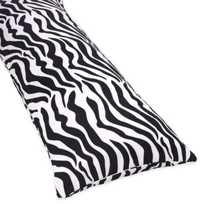 Sweet Jojo Designs Zebra Maternity Microsuede Body Pillow Case in Black/White