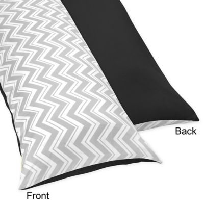 Sweet Jojo Designs Zig Zag Maternity Body Pillow Case in Black/Grey