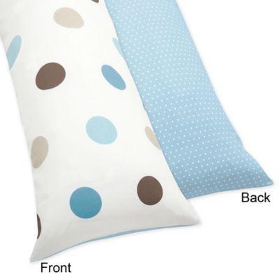 Sweet Jojo Designs Mod Dots Maternity Body Pillow Case in Blue/Chocolate