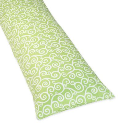 Sweet Jojo Designs Olivia Maternity Body Pillow Case in Green/White