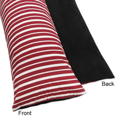 Sweet Jojo Designs Treasure Cove Pirate Maternity Body Pillow Case in Red/Black