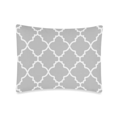 Sweet Jojo Designs Trellis Standard Pillow Sham in Grey/White