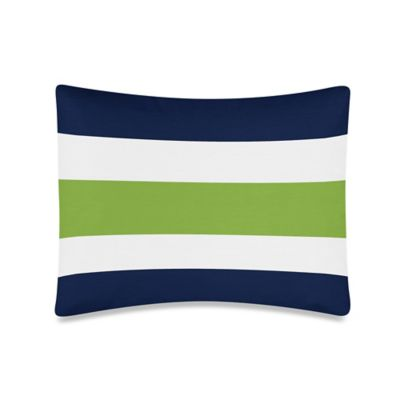 Sweet Jojo Designs Stripe Standard Pillow Sham in Navy/Lime