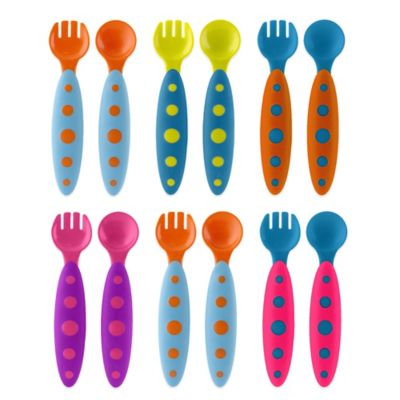Boon® MODWARE 3-Pack Toddler Utensil Set in Light Blue/Dark Blue/Orange