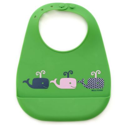 Bella Tunno Whales on Parade Silicone Wonder Bib in Green/Pink