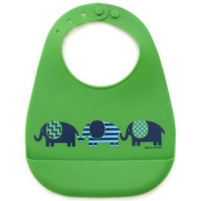 Bella Tunno March of the Elephant Silicone Wonder Bib in Green/Blue