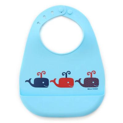 Bella Tunno Whales on Parade Silicone Wonder Bib in Blue