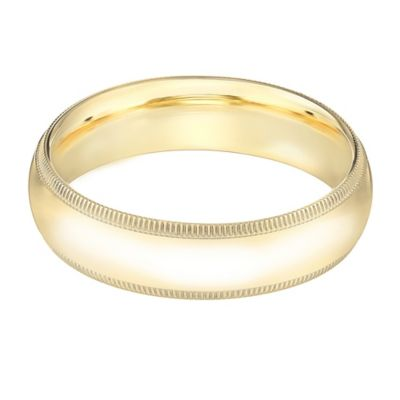 14K Yellow Gold Size 8.5 Men's Standard Comfort Fit Milgrain 5mm Wedding Band