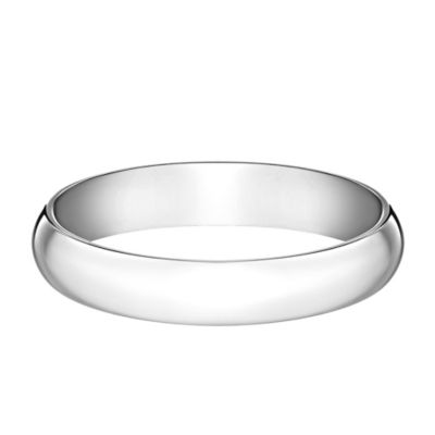 10K White Gold Size 9.5 Men's Traditional Oval 4mm Wedding Band