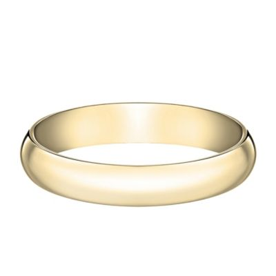 14K Yellow Gold Size 8 Men's Traditional Oval 4mm Wedding Band