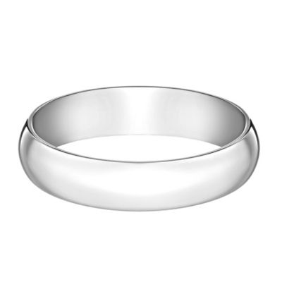 10K White Gold Size 10 Men's Traditional Oval 5mm Wedding Band