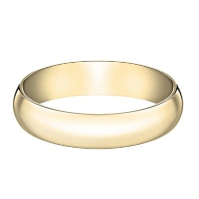 14K Yellow Gold Size 13 Men's Traditional Oval 5mm Wedding Band