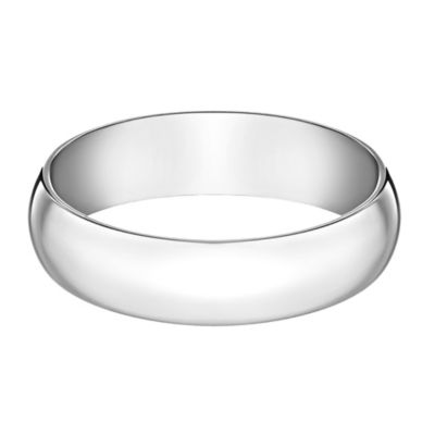 10K White Gold Size 7 Men's Traditional Oval 6mm Wedding Band