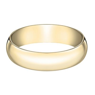 10K Yellow Gold Size 10 Men's Traditional Oval 6mm Wedding Band