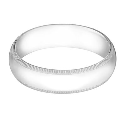 14K White Gold Size 12.5 Men's Traditional Oval Milgrain 5mm Wedding Band