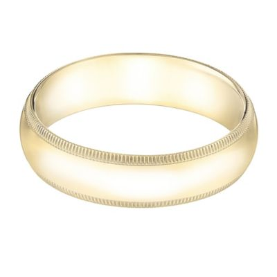 14K Yellow Gold Size 9 Men's Traditional Oval Milgrain 5mm Wedding Band