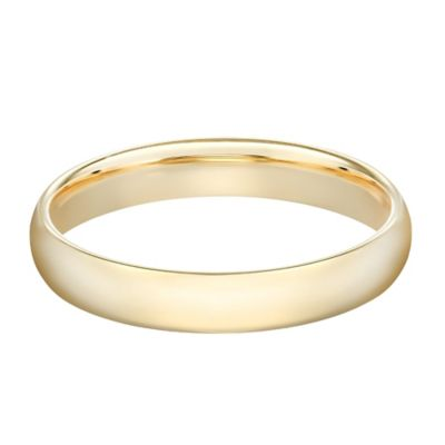 10K Yellow Gold Size 10 Men's Standard Comfort Fit 4mm Wedding Band