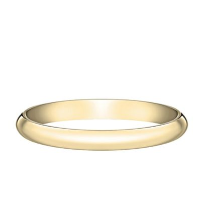 10K Yellow Gold Size 7.5 Ladies' Traditional Oval 2mm Wedding Band
