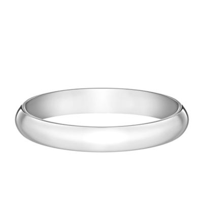 10K White Gold Size 6.5 Ladies' Traditional Oval 3mm Wedding Band