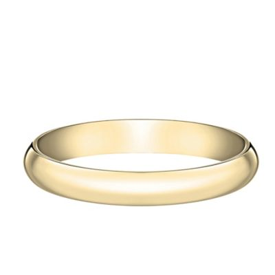10K Yellow Gold Size 7.5 Ladies' Traditional Oval 3mm Wedding Band