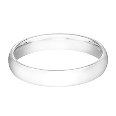 10K White Gold Size 7.5 Ladies' Traditional Oval 4mm Wedding Band
