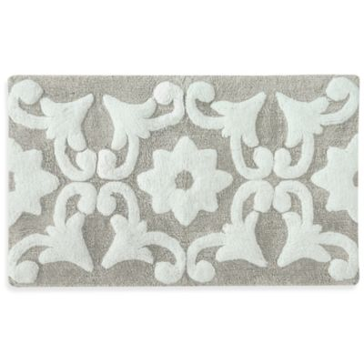 Jessica Simpson 21-Inch x 34-Inch Bali Bath Rug in Purple/White