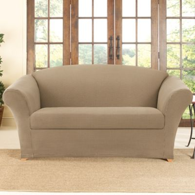 Sure Fit® Stretch Honeycomb 2-Piece Loveseat Slipcover in Khaki