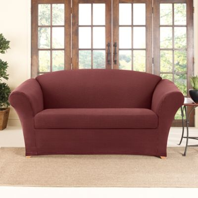 Sure Fit® Stretch Honeycomb 2-Piece Loveseat Slipcover in Wine