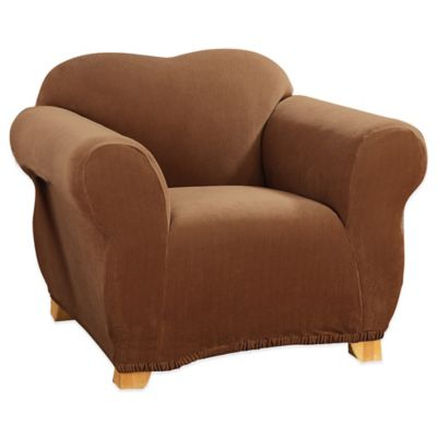 Sure Fit® Stretch Corduroy Chair Slipcover in Brown