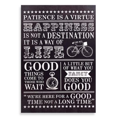 "Graham and Brown ""Happiness"" Typographic Printed Canvas Wall Art"