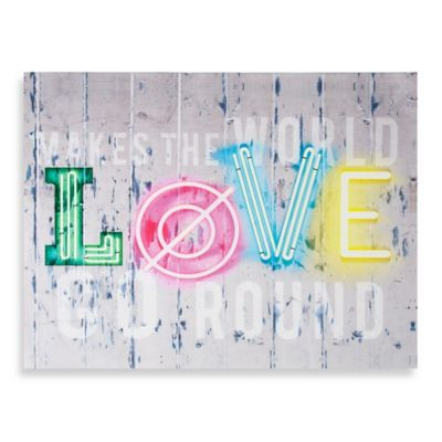Neon Love Printed Canvas Wall Art