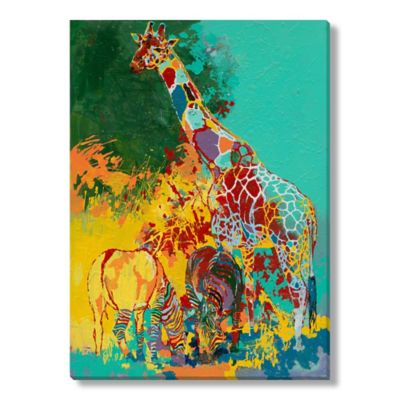 Two Zebras and a Giraffe Canvas Wall Art