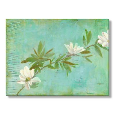 Laura Gunn Magnolias on Turquoise Canvas Wall Art