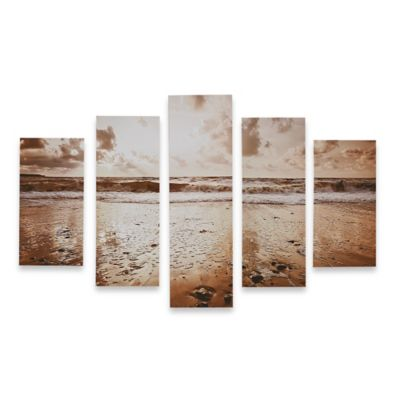 5-Piece Sunrise Beach Printed Canvas Wall Art