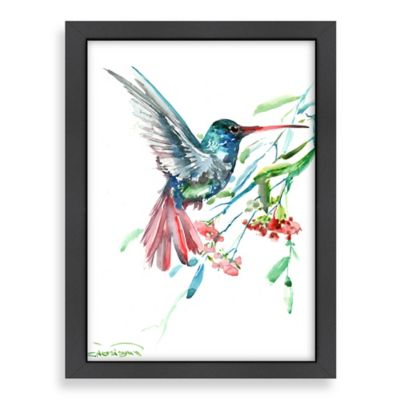 Americanflat Suren Nersisyan Hummingbird and Flowers Wall Art
