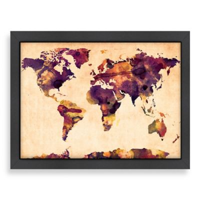 World Map Purple Colour Wall Art