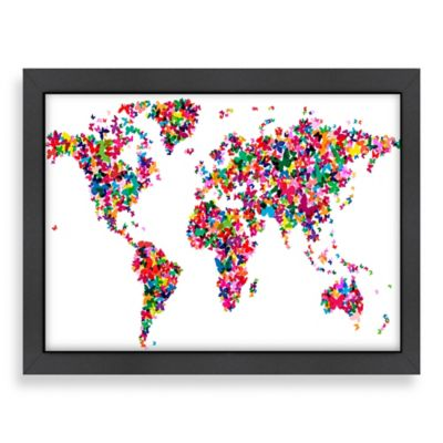 Americanflat Art Pause World Map Butterfly 2 Wall Art