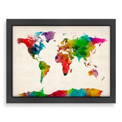 World Map Colour Wall Art