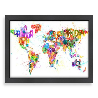 World Map Colour Wall Art with Black Frame