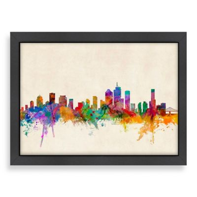 Americanflat Art Pause Brisbane Australia Panoramic Skyline Wall Art