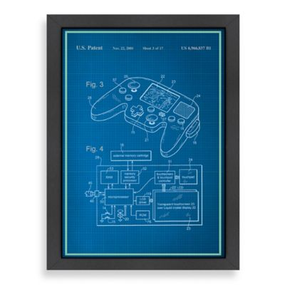 Americanflat Video Game Controller Blueprint Wall Art