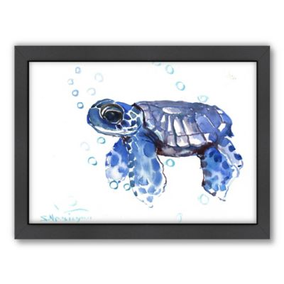 Baby Tortoise Blue Framed Art