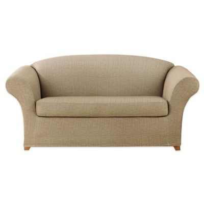 Sure Fit® Stretch Slub 2-Piece Loveseat Slipcover in Chocolate